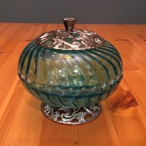 VINTAGE ARTE MURANESE AQUA GLASS COVERED CANDYDISH
